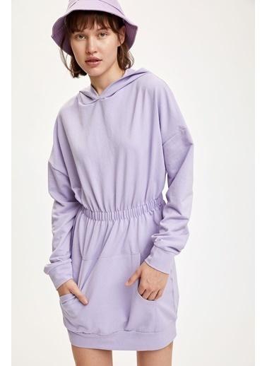 DeFacto Beli Büzgülü Uzun Kollu Elbise Mor